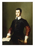 Portrait of a Gentleman, said to be the Composer Vincenzo Galilei (c.1520-91) Reproduction procédé giclée par Alessandro Allori