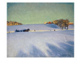 A Sleigh in a Snowbound Landscape Giclee Print by Gustaf Ankarcrona
