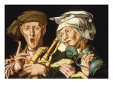 A Piper with a Peasant Woman Holding a Tankard Poster by Jan Sanders van Hemessen