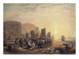 Fish Market on the Beach at Hastings Giclee Print by David Cox