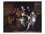 Gentlemen Tasting Wine in a Cellar Giclee Print by Egbert Van Heemskerck