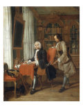 Two Gentlemen in a Library, one Seated at a Desk Writing, 1745 Giclee Print by Peter Jacob Horemans