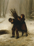 Children Gathering Wood in a Snowy Forest, 1883 Giclee Print by Edouard Frere