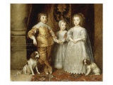 The Three Children of Charles I, 1635 Giclee Print by Sir Anthony Van Dyck