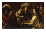 Soldiers playing Backgammon in an Interior Poster by Gerrit Van Honthorst