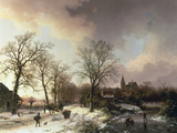 Figures in a Winter Landscape, 1842 Giclée-trykk av Barend Cornelis Koekkoek