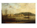 Plymouth Harbour with the Royal William Victualling Yard Giclee Print by William Daniell