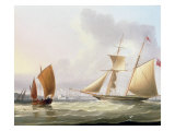 A Schooner and Other Shipping Giclee Print by Thomas Buttersworth