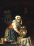 An Interior with a Maid Cleaning Pots Giclee Print by Gabriel Metsu