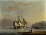 A British Frigate off the Coast at Mount Edgecumbe, Plymouth Giclee Print by Nichlas Matthew Condy