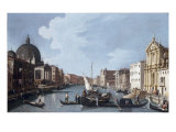 Venice, Grand Canal looking Southwest from Chiesa degli Scalzi to Fondamenta della Croce Print by  Canaletto
