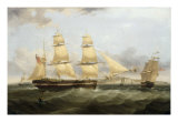 A Barque in Two Positions and Other Shipping off the Coast at Dover Poster by William John Huggins