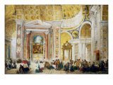 The Interior of St Peter's, Rome, 1844 Giclee Print by John Scarlett Davis