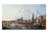 The River Thames at York Steps with Boats in the Foreground and Westminster Abbey beyond Prints by William James