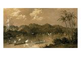 A Naval Engagement in Perak, Malaysia, 1885 Reproduction procédé giclée par Richard Bridges Beechey