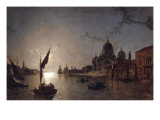 Moonlight on the Grand Canal, Venice Posters by Henry Pether