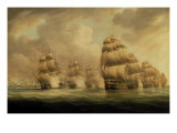 Action of Commodore Dance and the Comte de Linois off the Straits of Malacca, 15th February 1804 Giclee Print by Thomas Buttersworth