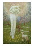 Little Lamb, who made thee Posters van Arthur Hughes