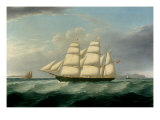 The Barque Elizabeth Martin off the Skerries, with South Stack and Carmel Head Print by Joseph Heard