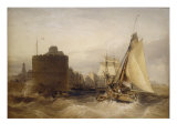 Entrance to the Port of Le Havre, 1845 Print by William Callow