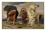 Greek Girls Picking up Pebbles by the Sea Prints by Frederick Leighton