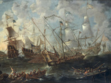 A Mediterranean Naval Battle Art by Kaspar van Eyck