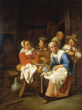 Kitchen Interior with Figures Giclee Print by Gillis van Tilborgh
