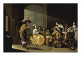 Soldiers and Elegantly Dressed Ladies Gambling inside a Guardroom Interior Print by Jacob Duck