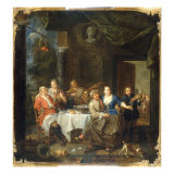 Figures on a Terrace Feasting Giclee Print by Joseph Van Aken