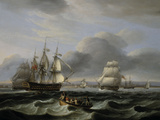 British Men of War and Other Shipping off Portsmouth Harbour, 1829 Giclee Print by Thomas Luny