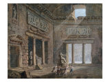 A Classical Interior, Figures dancing around a Statue Posters by Charles-Louis Clerisseau