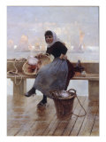 A Fishergirl on the Quay Giclee Print by Hector Caffieri