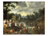 The Grounds of a Villa with Figures Feasting, Gardeners and Elegant Figures Boating Beyond Giclee Print by Peter Gysels