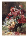 Vase with Peonies and a Basket with Flowers Giclee Print by Albert Tibule Furcy de Lavault