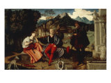 A Pair of Lovers and a Pilgrim in a Landscape Prints by Domenico Caprioli