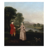 Portrait of Mr and Mrs John Broadhurst of Foston Hall, Derbyshire Prints by Arthur Devis