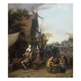 A Market Scene in a Town with an Apple Vendor and Figures seated at a Table Drinking Prints by Gillis Rombouts