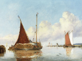 Barge Carrying Reeds on the Norfolk Broads Giclee Print by William Philip Barnes Freeman