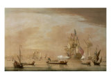 The Arrival of George II off Margate Aboard the Royal Yacht Carolina on his Return from Hanover Giclee Print by Peter Monamy