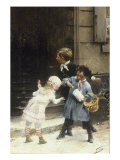 Children with a Bag of Sweets Giclee Print by Henri Jules Geoffroy