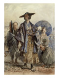 A Samurai Officer and a Servant in a Street Giclee Print by Charles Wirgman