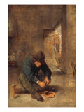 A Peasant eating Mussels in an Interior Giclee Print by Adraen Brouwer