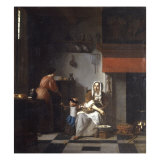 An Interior with a Woman, a Child and a Servant Art by Pieter de Hooch