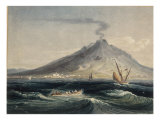 Mount Vesuvius from the Sea Print by Edward Dayes