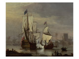 The Royal Sovereign at Rest on the Meadway below Rochester Castle, c.1704-1707 Giclee Print by Peter Monamy