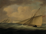 An Armed Cutter off the Coast Giclee Print by Thomas Buttersworth