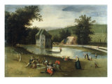 A Landscape with Gentlefolk Feasting, a Moated Castle in the Background Prints by Abel Grimmer