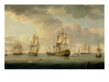 Vice-Admiral Sir Allen Gardner, Vice-Admiral of the White, in a Three-Decker at Spithead, 1796 Giclee Print by Thomas Elliot