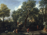 A Classical Landscape with Figures Bathing in a Pond Giclee Print by Jan Frans van Bloemen
