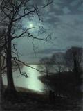 John Atkinson Grimshaw - Watching a Moonlit Lake Digitálně vytištěná reprodukce